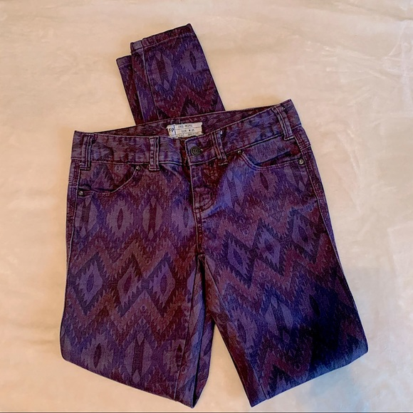 Free People Purple Aztec Patterned Denim Jeans